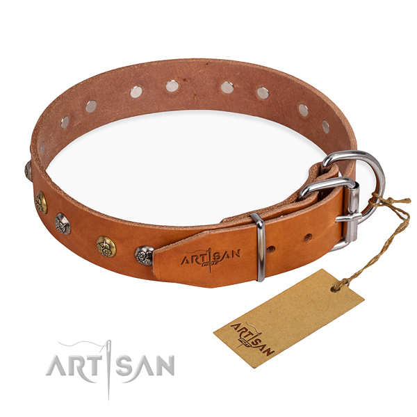 Full grain genuine leather dog collar with incredible corrosion proof decorations