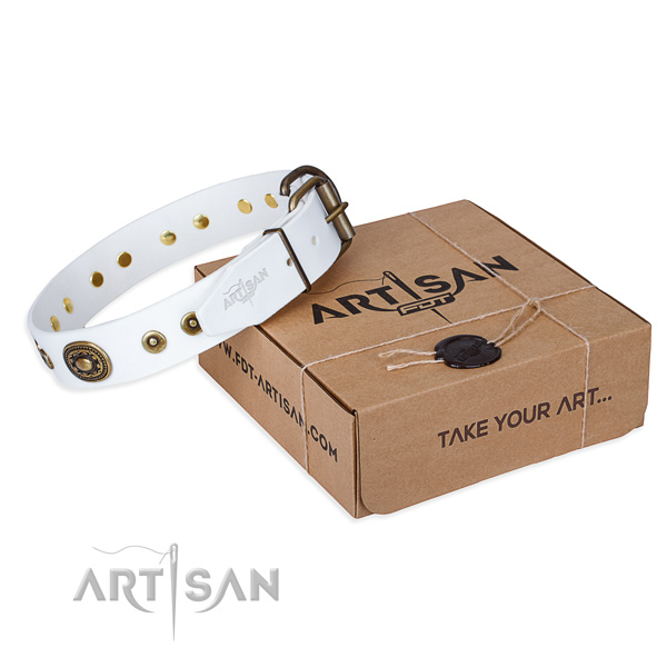 Full grain leather dog collar made of quality material with corrosion resistant D-ring