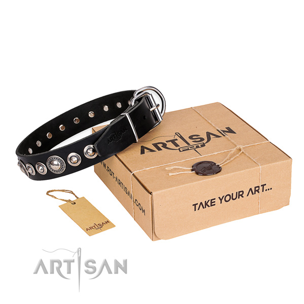 Strong full grain natural leather dog collar