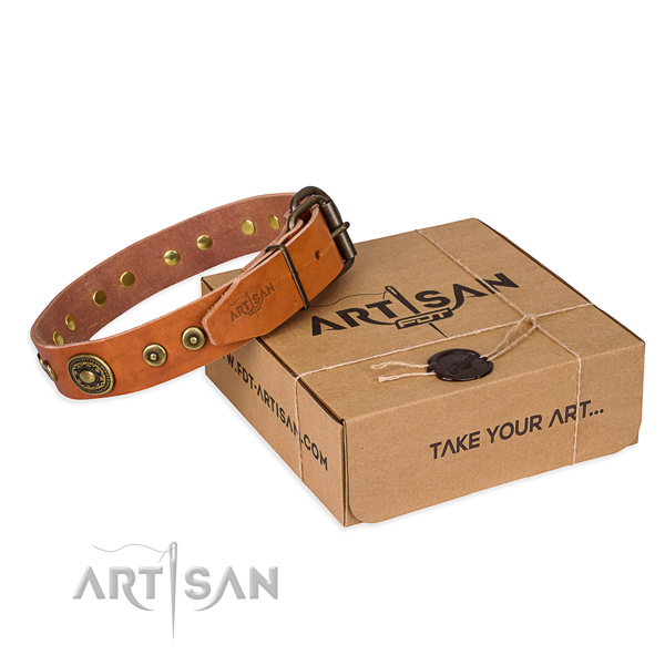 Natural genuine leather dog collar made of quality material with durable traditional buckle