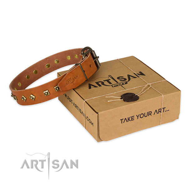 Durable buckle on full grain natural leather dog collar for handy use