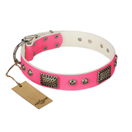 """Fashion Skulls"" FDT Artisan Pink Leather dog Collar with Old Silver Look Plates and Skulls"