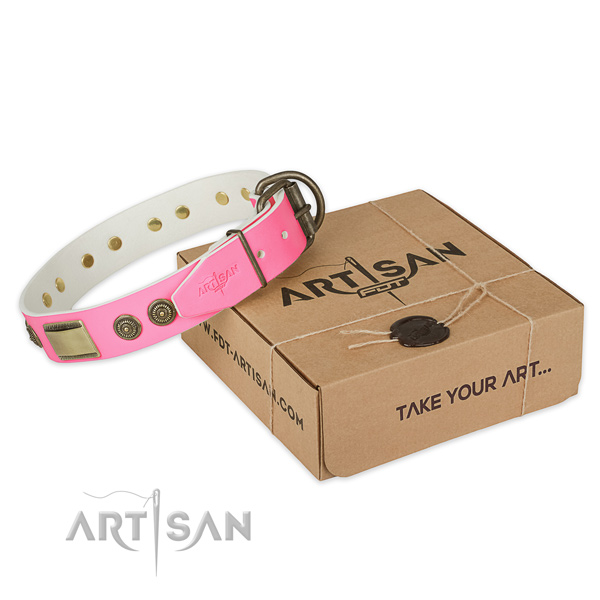 Strong adornments on dog collar for comfy wearing