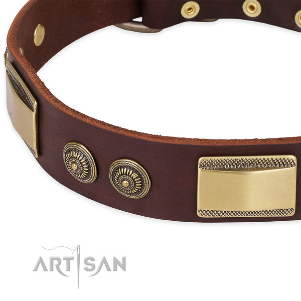 Handcrafted full grain natural leather collar for your attractive doggie