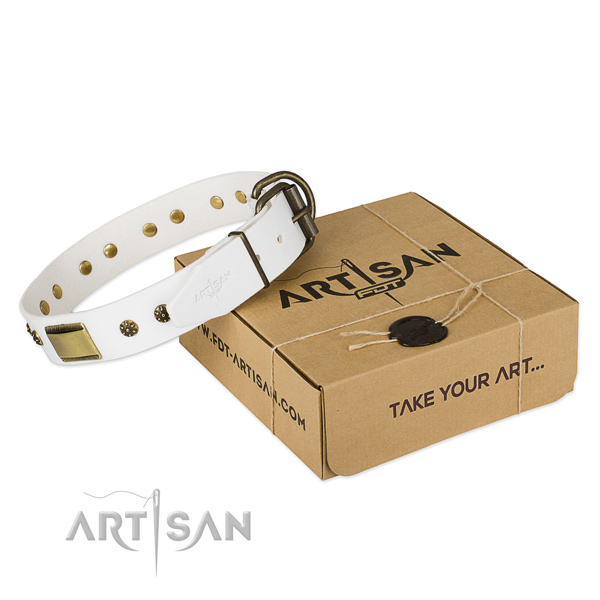 Inimitable full grain natural leather collar for your impressive pet
