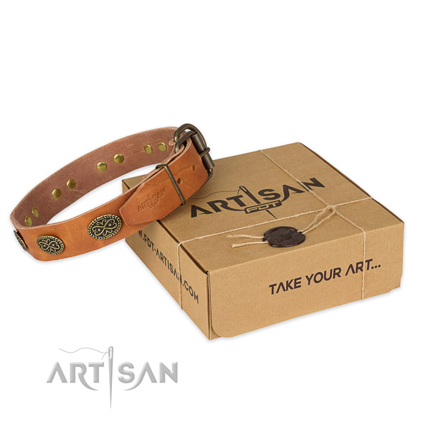 Rust resistant hardware on full grain leather collar for your handsome canine