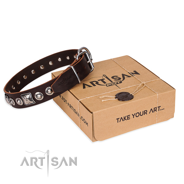 Full grain genuine leather dog collar made of high quality material with strong hardware