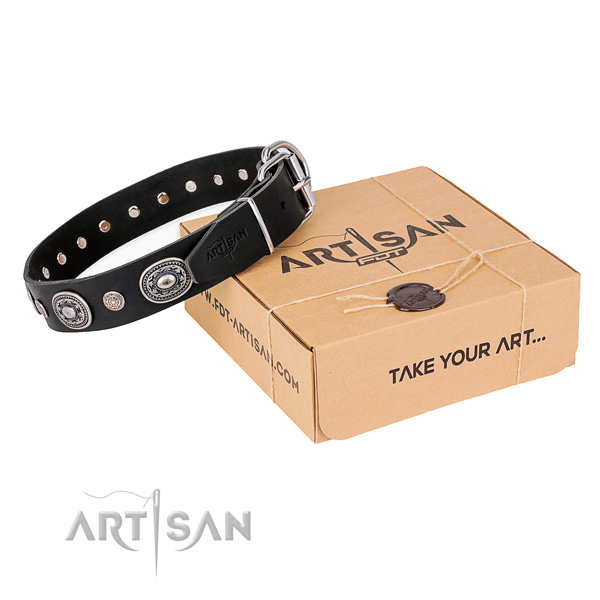Top rate genuine leather dog collar handmade for daily use
