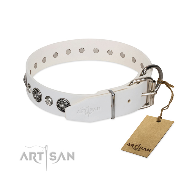 Reliable natural leather dog collar with rust-proof D-ring