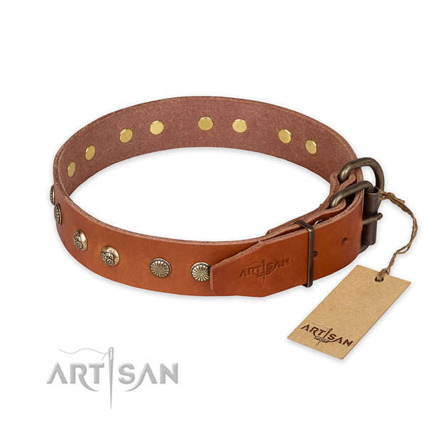 Durable fittings on full grain genuine leather collar for your impressive canine