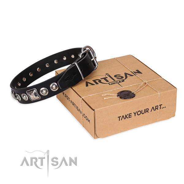 Full grain genuine leather dog collar made of soft to touch material with durable hardware
