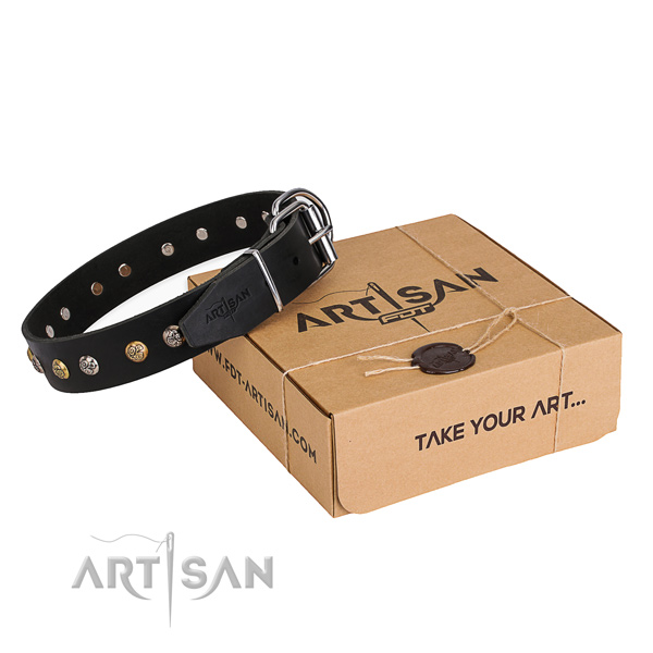 Quality full grain natural leather dog collar created for comfortable wearing