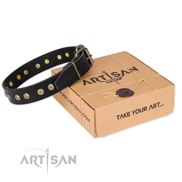 Rust-proof traditional buckle on natural genuine leather collar for your lovely dog