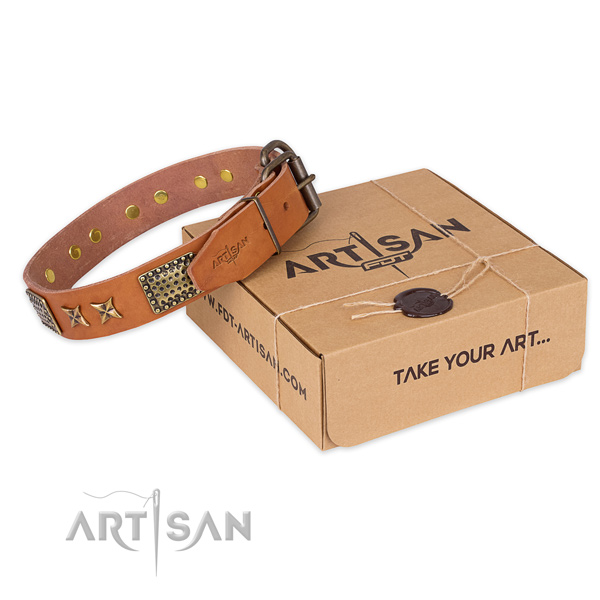 Corrosion resistant buckle on genuine leather collar for your attractive pet
