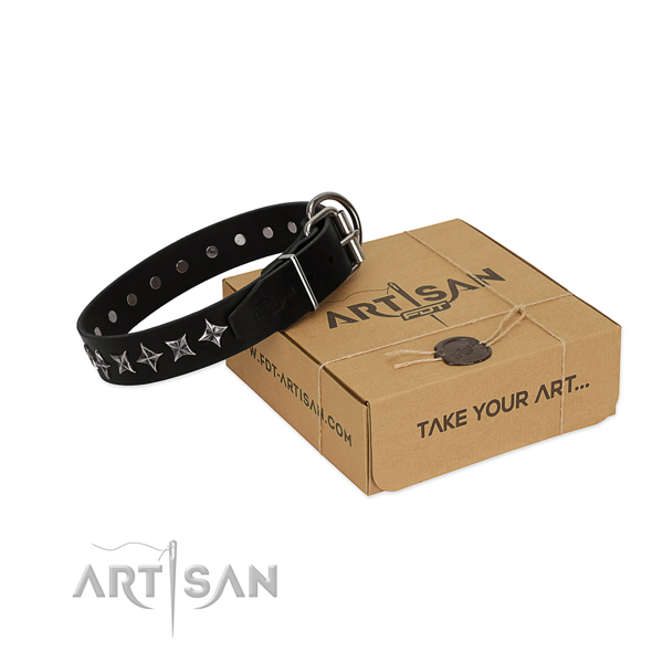 Easy wearing dog collar of fine quality genuine leather with adornments