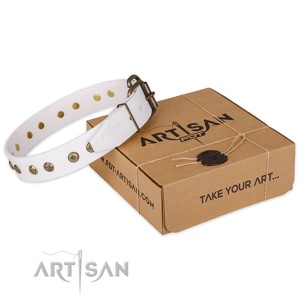 Strong fittings on leather collar for your stylish doggie