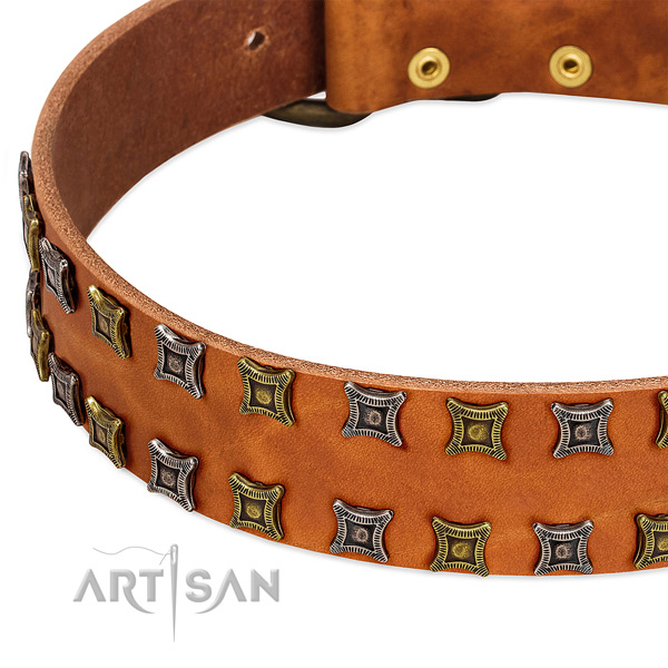 Soft full grain natural leather dog collar for your lovely pet