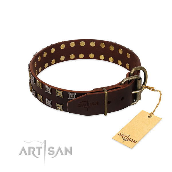 Flexible full grain genuine leather dog collar created for your canine