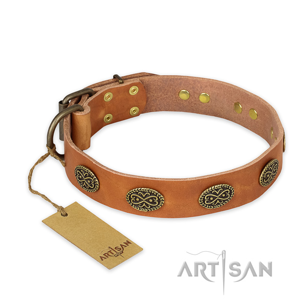 Adjustable full grain genuine leather dog collar with corrosion resistant traditional buckle
