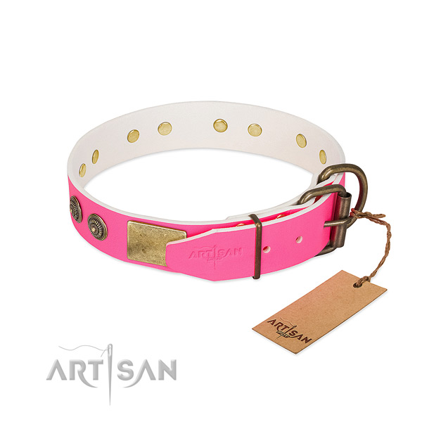 Durable D-ring on natural genuine leather collar for walking your pet