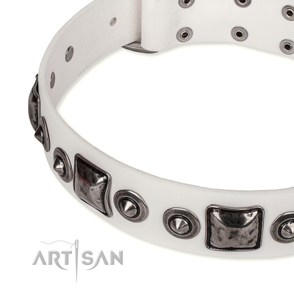 Soft leather dog collar handcrafted for your lovely four-legged friend