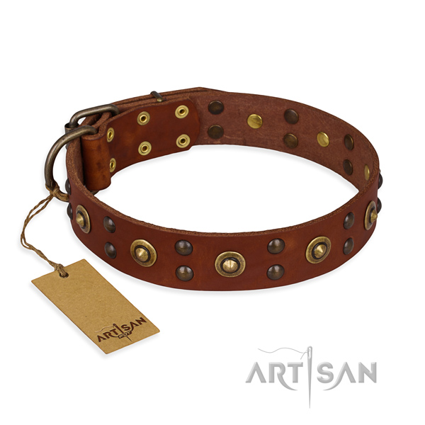 Stylish design genuine leather dog collar with reliable D-ring