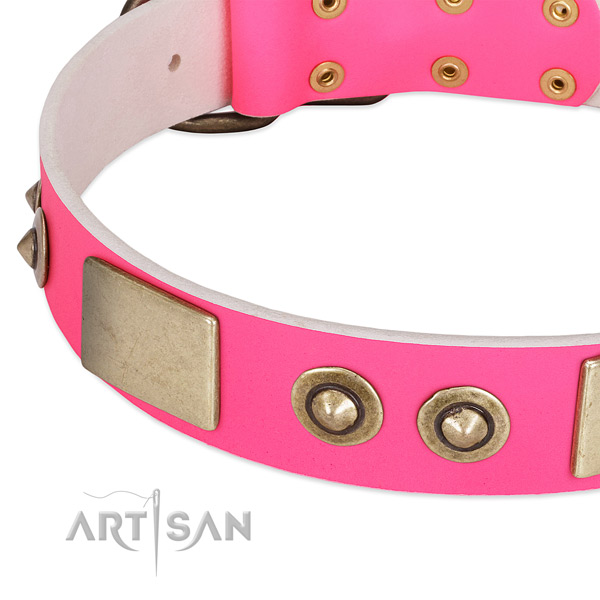 Corrosion resistant hardware on genuine leather dog collar for your dog