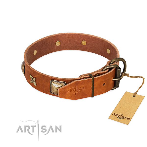 Natural genuine leather dog collar with rust resistant fittings and decorations