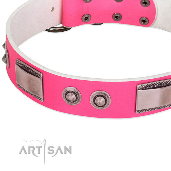 Stylish design full grain genuine leather collar with adornments for your four-legged friend