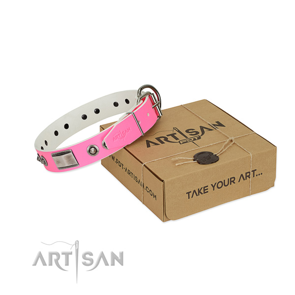 Fine quality full grain genuine leather collar with adornments for your doggie
