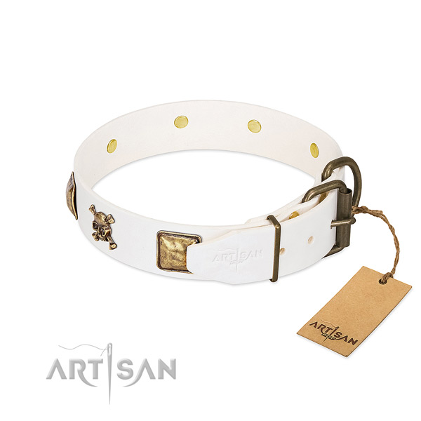 Stunning full grain leather dog collar with reliable decorations