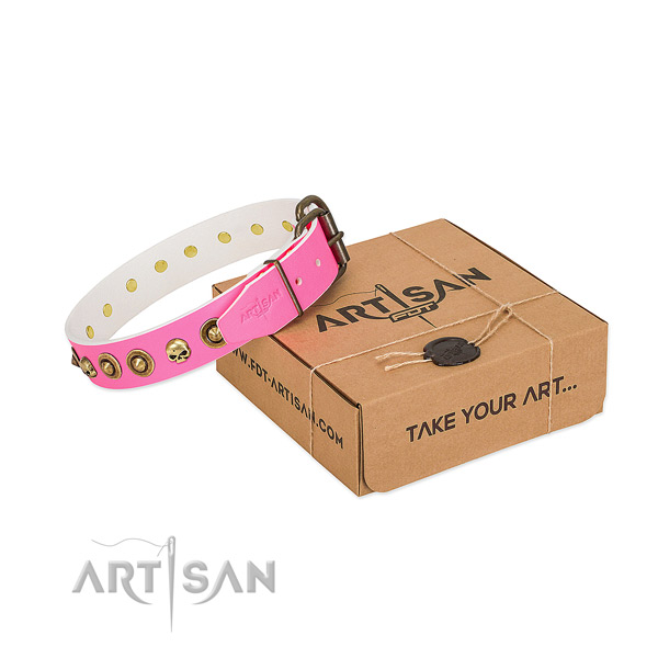 Full grain genuine leather collar with stunning studs for your canine