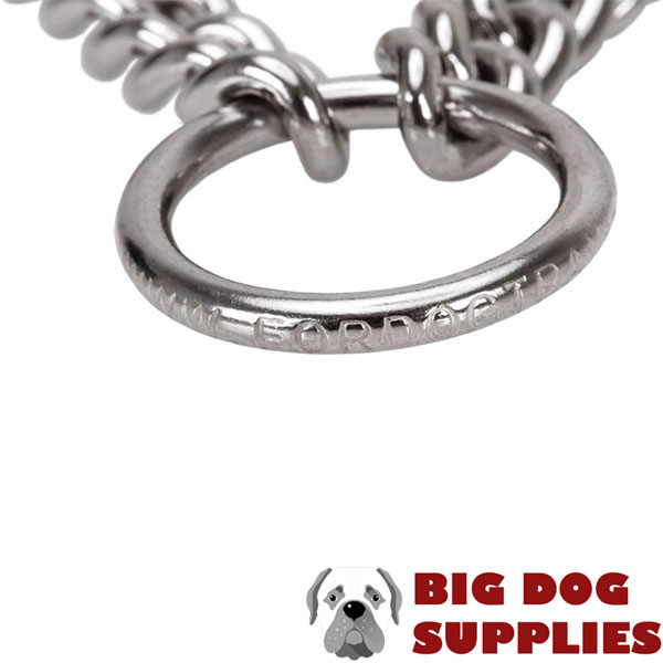Strong dog pinch collar of corrosion resistant stainless steel for large breeds