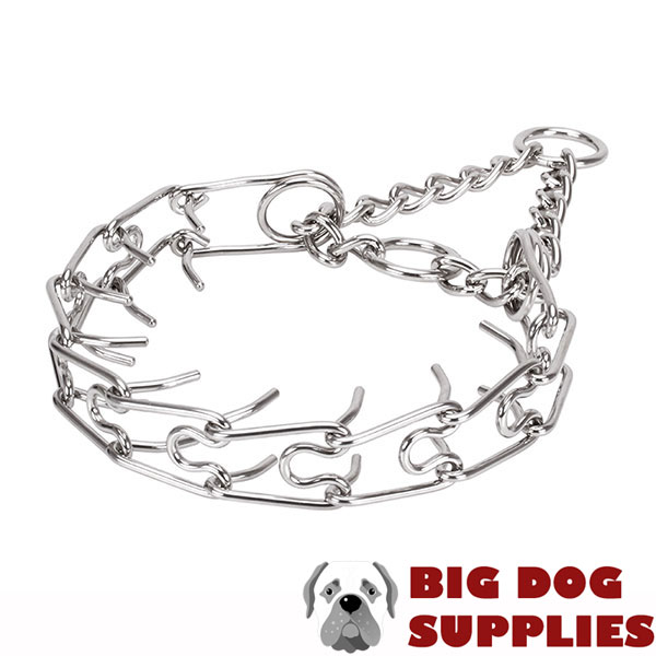 Strong stainless steel dog prong collar for large canines