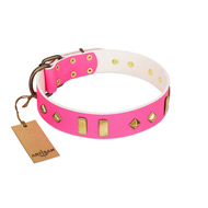 """Gentle Temptation"" FDT Artisan Pink Leather dog Collar with Goldish Plates and Studs"