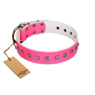 """Queen of Hearts"" Handcrafted FDT Artisan Pink Leather dog Collar with Dotted Studs"
