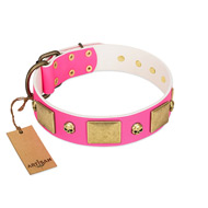 """Glammy Voyage"" FDT Artisan Pink Leather dog Collar with Stylish Bronze-like Decorations"