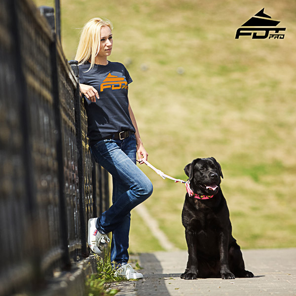 Dog Walking Women T-shirt of Reliable Cotton