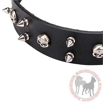 Black Leather Collar with Non-corrosive Skulls