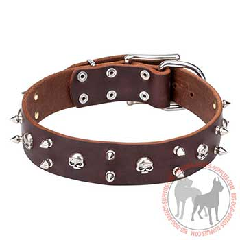 Brown Leather Dog Collar with Special Decoration