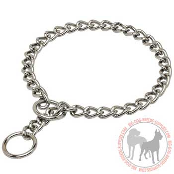 Steel chrome plated choke dog collar