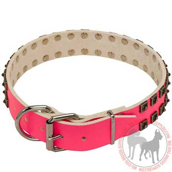 Pink Leather Collar for Dogs with Rivets