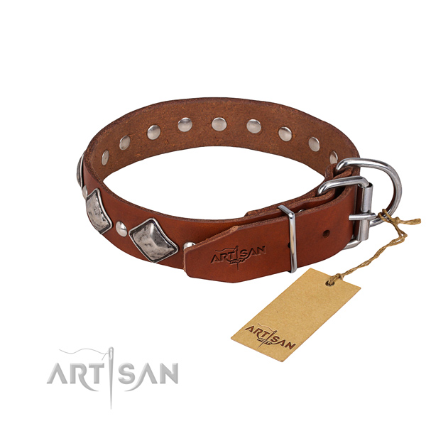 Heavy-duty leather dog collar with non-rusting fittings