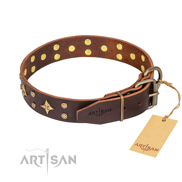 Daily use natural genuine leather collar with adornments for your pet