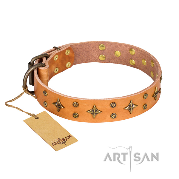 Stunning natural genuine leather dog collar for handy use