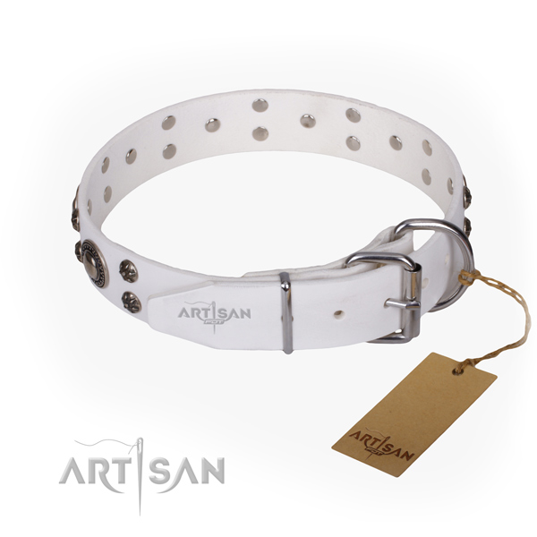 Stylish walking natural genuine leather collar with studs for your dog