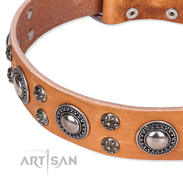Daily walking natural genuine leather collar with corrosion resistant buckle and D-ring