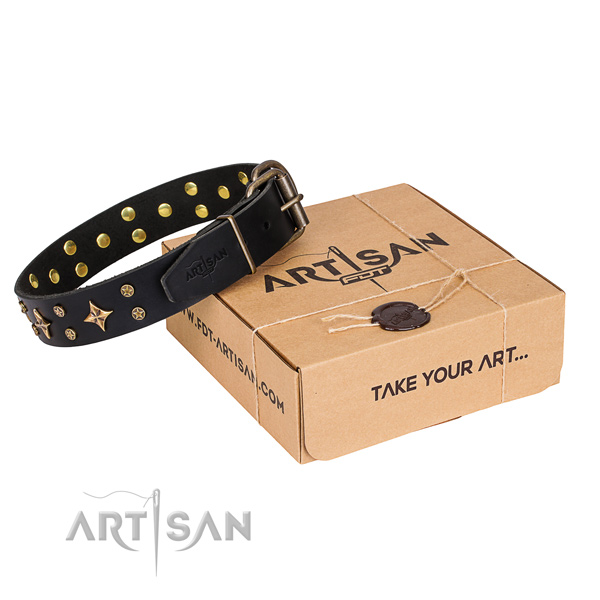 Adorned full grain genuine leather dog collar for comfy wearing