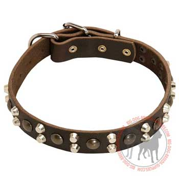 Dog leather collar durable material
