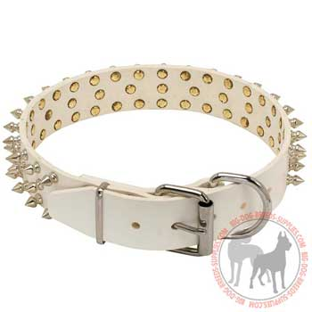 Dog leather collar 3 rows of spikes